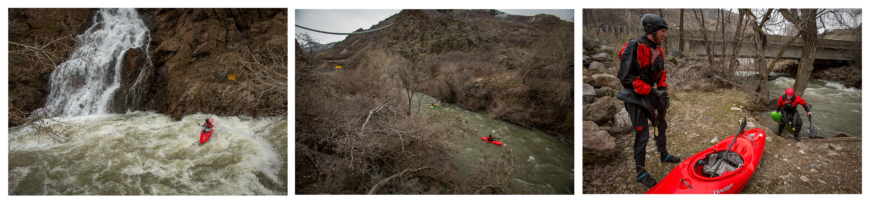 Kayakers paddle through The Narrows in Ogden Canyon as the Ogden River reaches levels that haven't been seen in years on Saturday, Feb. 18, 2017.